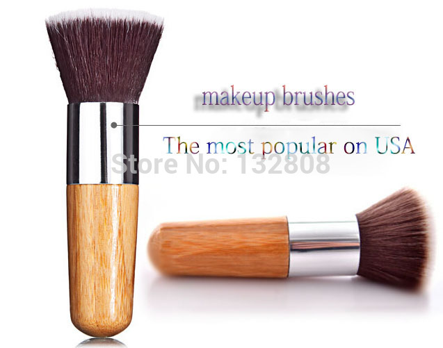Professional Flat Foundation Makeup Brush Powder Cosmetic Bamboo Handle Soft Nylon Wool Free shipping(China (Mainland))