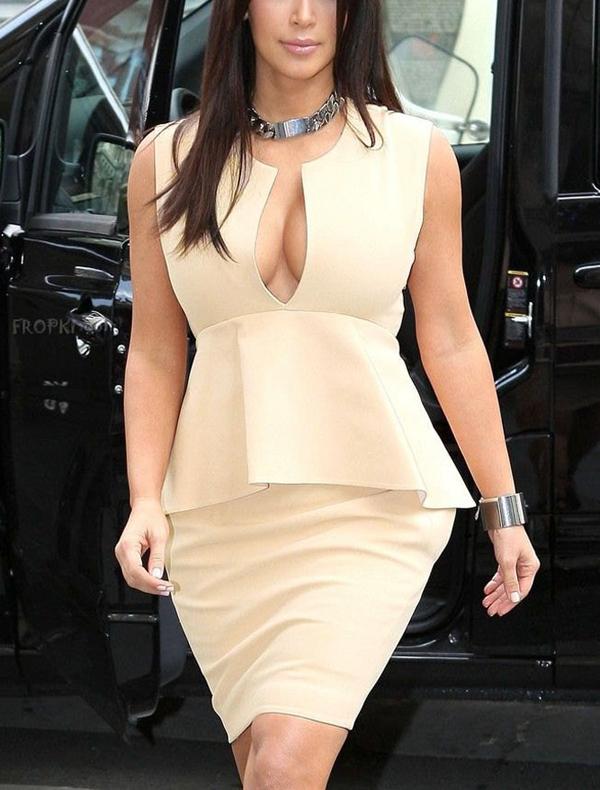 Vestido Eshow Bodycon, hot mulheres marfim Placket pescoço Flouncing na altura do joelho verão Peplum vestidos XL B5252(China (Mainland))