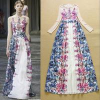 High Quality New 2015 Runway Long Dress Women Dye Print Gauze Patchwork Long Sleeve Evening Dress Ladies Party Maxi Long Dress