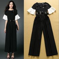 High Quality New Rompers 2015 European Fashion Women Flare Sleeve Black White Color Block Elegant Jumpsuit Feminino Overall