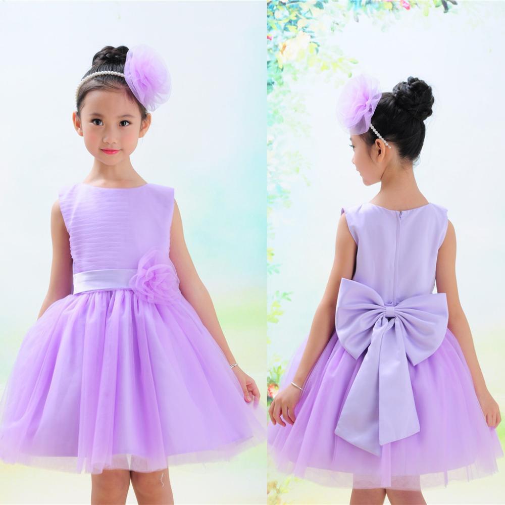 new 2015 girl dress fashion spring summer sleeveless 3D bow knot decor princess party toddler baby evening dress(China (Mainland))