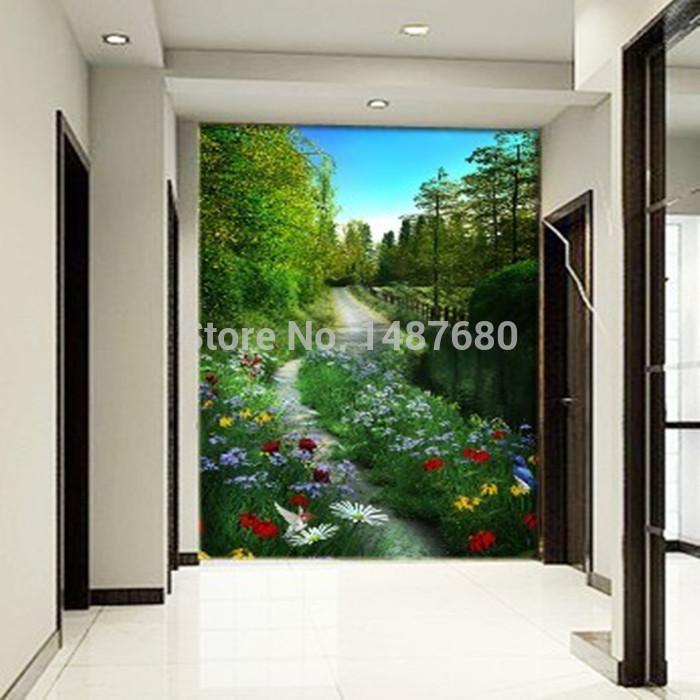 2014 New Sale Wallpapers Adesivo Wallpaper for Walls 3d Stereo Box Walking Promenade Mural Living Room Sofa Bedroom Tv Backdrop(China (Mainland))