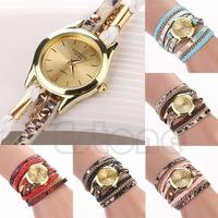 Free Shipping Women Leopard Grain Woven Faux Leather Sling Chain Quartz Round Dial Wrist Watch