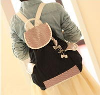 10pcs/lot fedex fast free shipping Canvas Backpack School Bag Super Cute Bow Stripe School College Bag for Teenagers Girls Boys