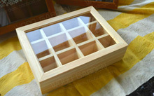 Customize multicellular glass Pine wooden boxes 12 packaging box tea storage gift jewelry box 27*20*7cm