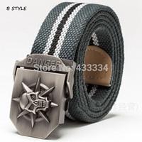 2015 Hot sale men canvas belt Punk Skull military belt Army tactical belt top quality men strap 12 colors 140 cm-G010