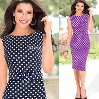 Women Dresses Hot Sale New Fashion O-neck Sleeveless Temperament Charm Dot Pencil Party Dresses Size S M L XL XXL