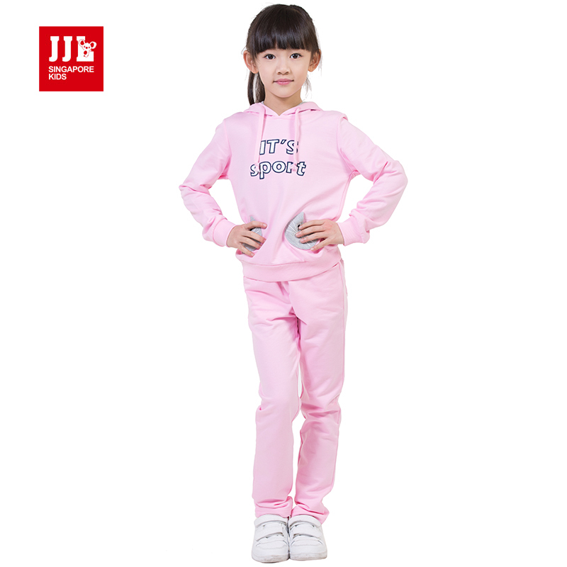 girls sports suit 2015 spring clothes kids tracksuit letter print cute cat image pockets girls spring clothes girls clothing(China (Mainland))