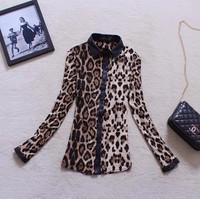 Hot Sale 2015 New europe america women blouse Long Sleeve spring autumn clothing leopard print PU turn-down collar shirt WX379