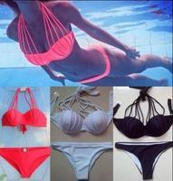 2015 NEWEST Women Sexy Bandage Bikinis Set Lady Push-up Padded Bra Swimsuit Strappy Suit Bikini Swimwear Bathing Suit Beachwear