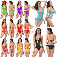 2015 QUEEN Europe/ United States popular bra one-piece swimsuit thicken large code swimwear solid color 8 color swimming suit
