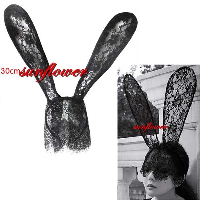 Sexy Bunny Long Ear Lace Veil Mask Headband Headwrap Halloween Party Costume(China (Mainland))