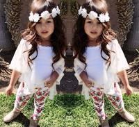 Spring Girl's Sets White Jacket Vest Floral Pant 3pcs Clothing Sets For Girls Children's Flower Printing Clothes Set 2015