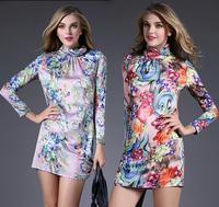 High Quality New European Style Fashion Dress 2015 Spring Women Turtleneck Purple Red Floral Print Long Sleeve Silk Dress Basic