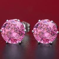 Wholesale 8mm Swiss AAA Cubic Zircon Earrings CZ Diamond Earrings 20pairs/lot registered mail free
