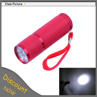 Fashion Style 9 LED Rubber Aluminum Alloy Torch Lamp Portable Best Cheap Flashlight