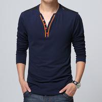 Men's Clothing Spring Fashion Male Slim Casual T-shirt V-Neck Cotton Plus Size Camisetas Masculinas Long Sleeve Men t Shirt
