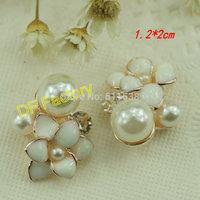 1.2*2cm white flower and pearl embellishment alloy flower black rhinestone buttons 20pcs/lot