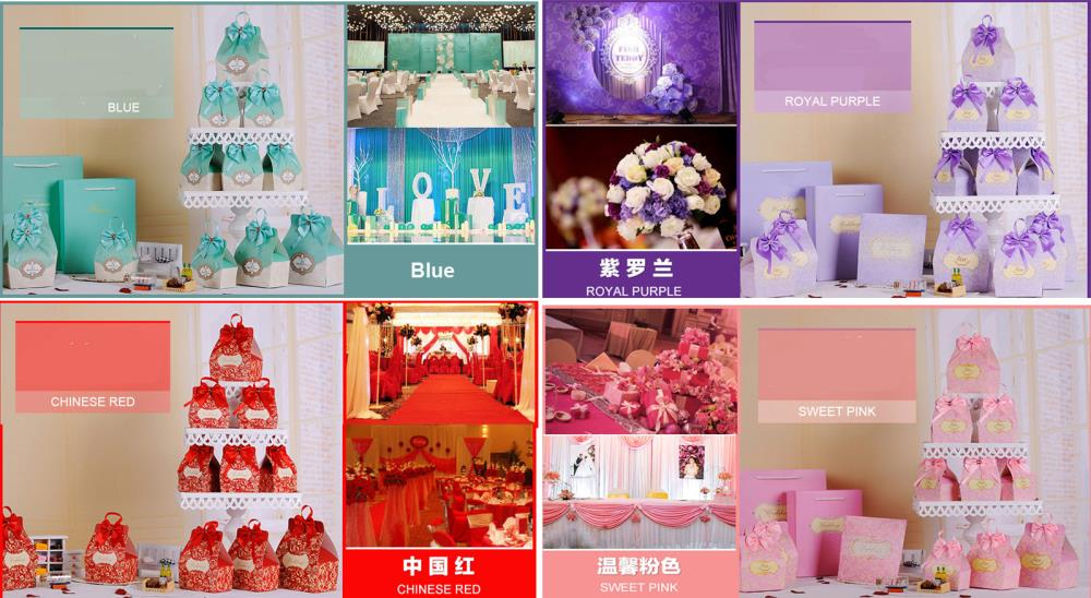 50pcs Candy Boxes Party Favors Wedding Box Sweets Party Favour Baby Shower Gift Bags Decorations Small Size 7.3*4.5*10CM 4 color(China (Mainland))