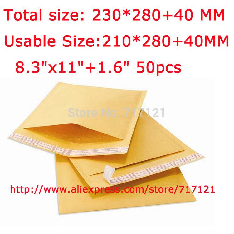 "China market wholesales custom kraft bubble mailers usable size 210*280+40 MM_8.3""x11""+1.6"" 50pcs free shipping(China (Mainland))"