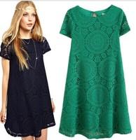 hot sale women dress 2015 summer new vestidos fashion vintage dress round neck dress short sleeve casual dress  ree shipping