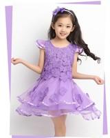 EMS DHL Free shipping Girls Kids sweet girls Lace Floral Princesss Chiffon Dress Holiday  party Lace chiffon dress 120-160 yue