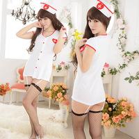 2015 New Plus Size Women Sexy Lingerie Nurse Costume Set Lady Nightclub Play Dress White Disfraces Mujer Sexy Nurse Costume