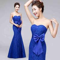 Evening Dress 2015 New Arrival Birde Sweet Mermaid Lace Strapless Long Party Dress Plus Size Bandage Formal Dress Prom Dress