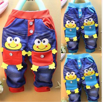 2015 горячая мода дети детские девочки мальчики малышей демин синий лягушки карманные брюки брюки 1-5Y