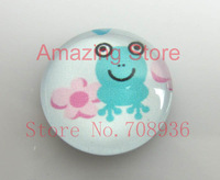Free Shipping Wholesale 15pcs  cartoon frog Pattern Oval Glass Dome Seals Cabochon Fit Cameo Settings25mm