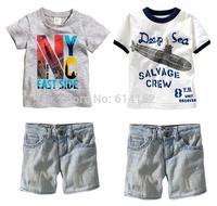 2015 summer new boy letters T shirt+denim shorts 2pcs clothes set baby boys clothing sets suit children's clothing