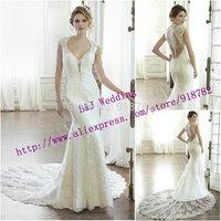 Custom Made 2015 New Fashionable White Iovry Mermaid Cap Sleeve Sexy Deep V Neck Open Back Lace Wedding Dress Long Train