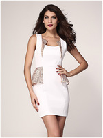 Ruffles Fashion V-Neck Women Dresses 2015 Sexy Dress Europe and America Sleeveless Party Dresses HM157
