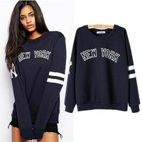 2015 Hitz  Casual  printing Sweatershirt long-sleeved blue letters  sweatershirt bottoming shirt female