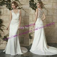 New Design 2015 Custom Made Fashion Elegant A Line V Neckline Lace Appliques Satin Wedding Dress Bridal Gown