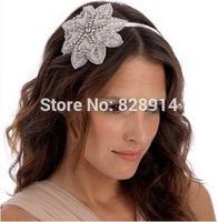 Vintage Flower Design Rhinestone Applique wedding Bride Headband Made of Crystal stone and Ribbon Handmade Free Shipping