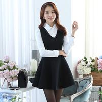 Fashion New 2014 Autumn Winter Twinset Casual Tops Plus Size Long-Sleeve Peter Pan Collar Women's Sexy Dress Female Vestidos