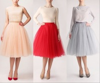 Best Selling Solid Short Skirt Knee Length Custom Made More Color Tulle Skirts Womens 2015 New Fashion