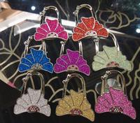 Beautiful flower Bag Hanger Glitter Rhinestone Women Handbag Holders Hangers Hooks Dual-use Bag Parts & Accessories Nice Gift