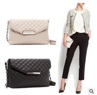 New 2015 Women Handbag Plaid Leather Bag Chain Women Messenger Bag 4 Colors Black  Cross Body Shoulder Bag Drop Shipping