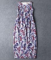 High quality 2015 runway fashion Brand O neck sleeveless digital print tank formal maxi long one piece dress S,M,L