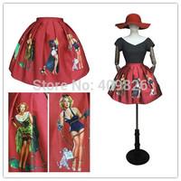 Advanced Design 50S Pinup Royal Palace Vintage Style Sexy Lady POP Art Floral Print Skirt Retro Saias Curtas Femininas 2015