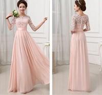 2015 Mulheres Moda Vestido bonito Meio Sexy Lace Sleeve Chiffon Hollow Out Maxi Evening vestido SML Plus Size