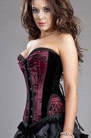 beauty online new 2014 women sexy lingerie hot NEW Sexy Burlesque Petra Overbust Flock Corset LC5298