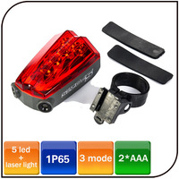 Super Bright 3 mode AAA battery IP65 Waterproof rear laser bicycle light shipping fee