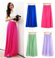 2015 New Fashion Womens Candy Color Saias Femininas High Waist Elastic Waist Chiffon Full Long Maxi Skirts 80/90/100cm