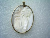 30*40mm white cameo sunup pendant