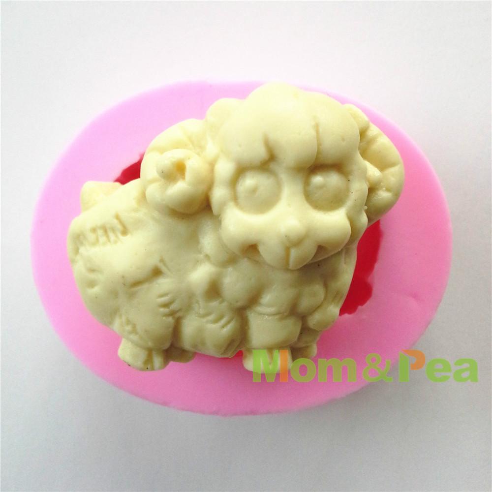 Mom&Pea 0605 Free Shipping Little Sheep Silicone Soap Mold Cake Decoration Fondant Cake 3D Mold Food Grade DIY Silicone Mould(China (Mainland))