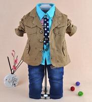 new style boys handsome blazer+shirt+pant clothing sets 3pcs kids clothes sets baby boy coat set boy children clothing