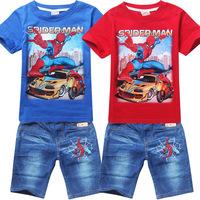Summer Spiderman Baby Boys Clothes Sets Children's Sets T shirt and Denim Shorts Roupas Meninos Boys Clothing Sets Sports Suit
